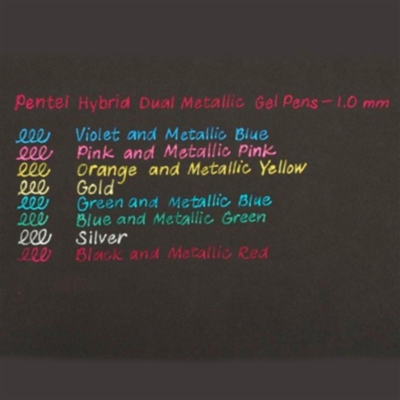 Kit Caneta PENTEL Hybrid Dual Metallic Gel 1.0 mm c/ 8 Unds