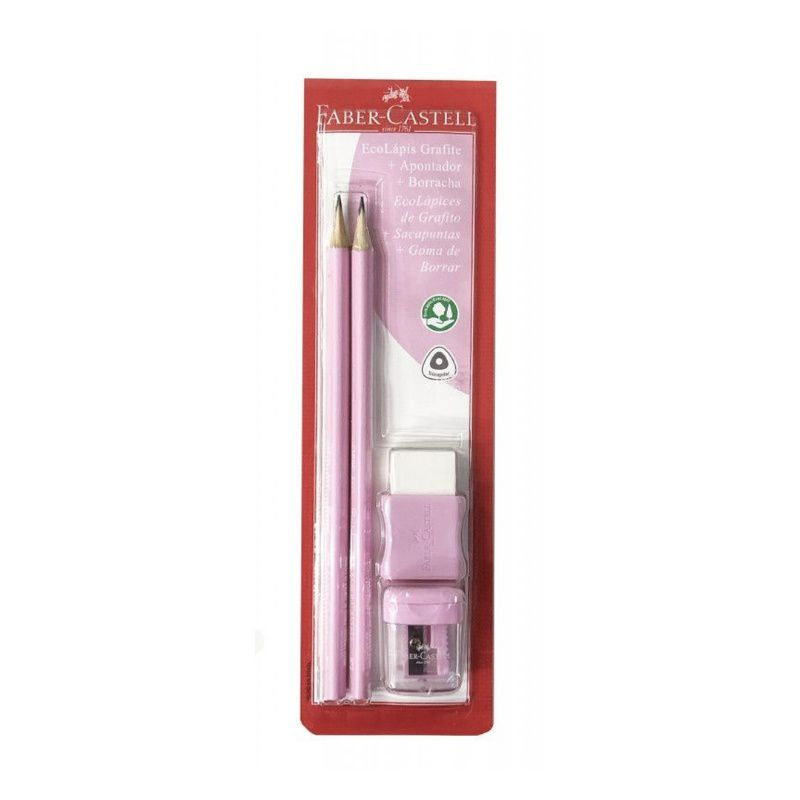 Conjunto com 2 Lápis + Borracha + Apontador FABER-CASTELL - Rosa