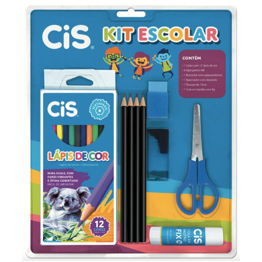 Kit Escolar CIS Azul c/ 9 Peças