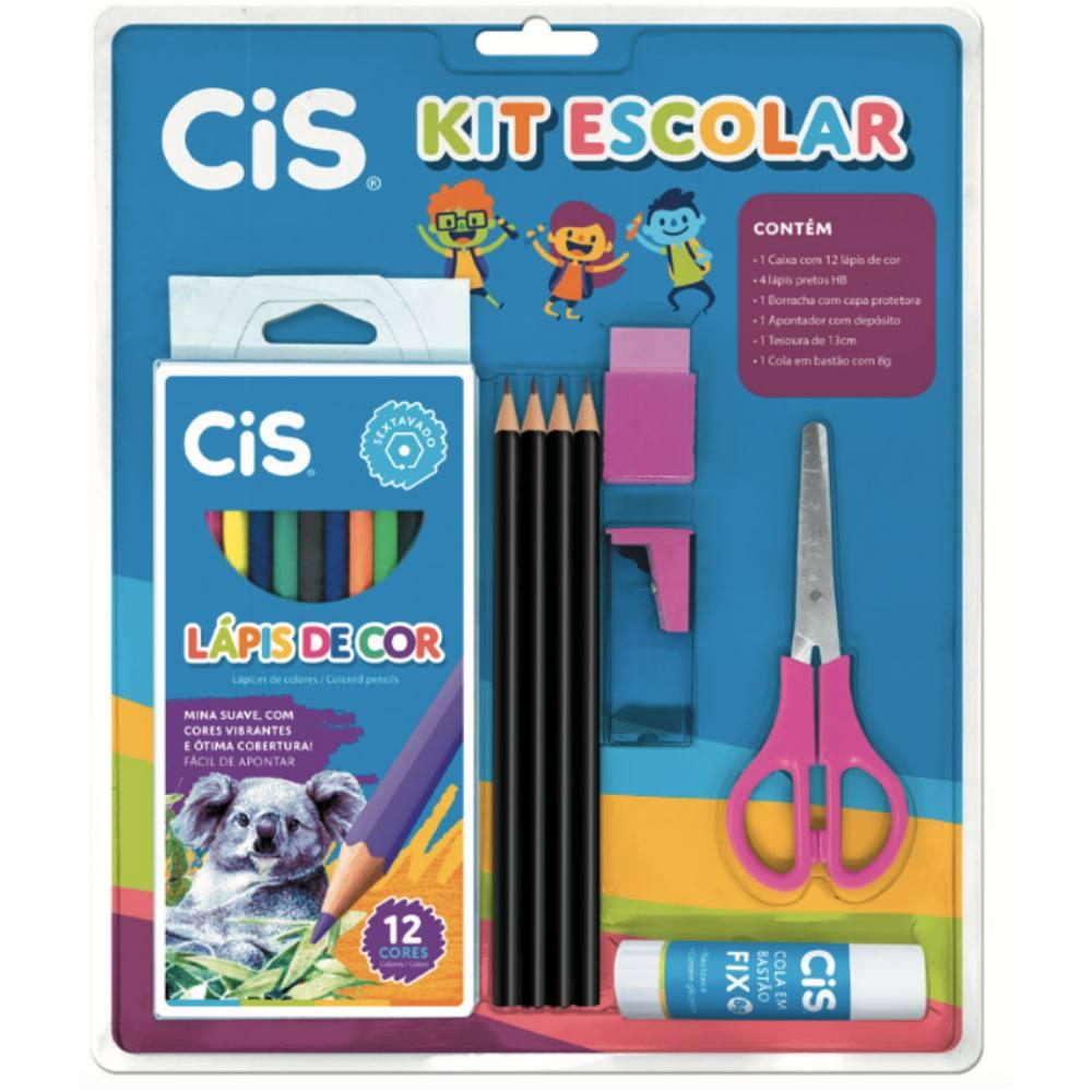 Kit Escolar CIS Rosa c/ 9 Peças