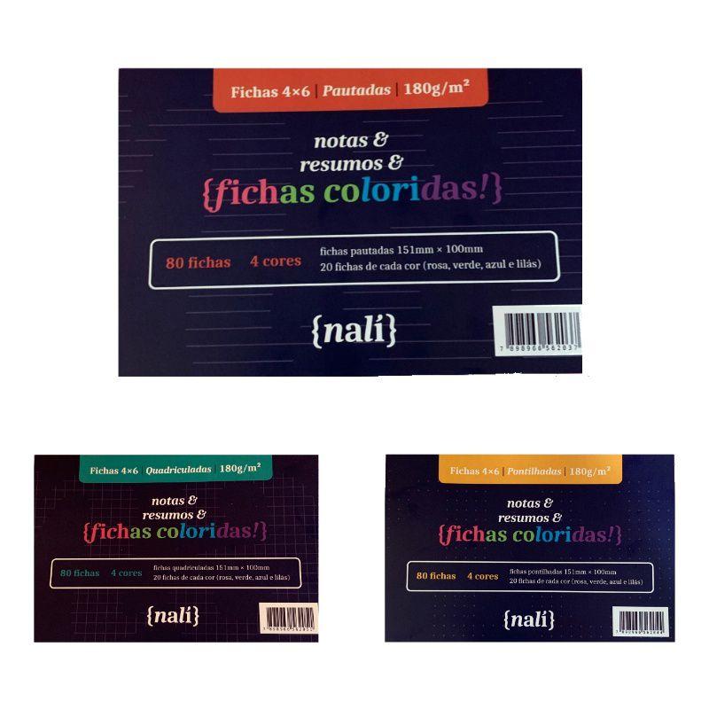 Kit Fichas NALÍ 4 x 6 c/ 80 Fls 150g/m2