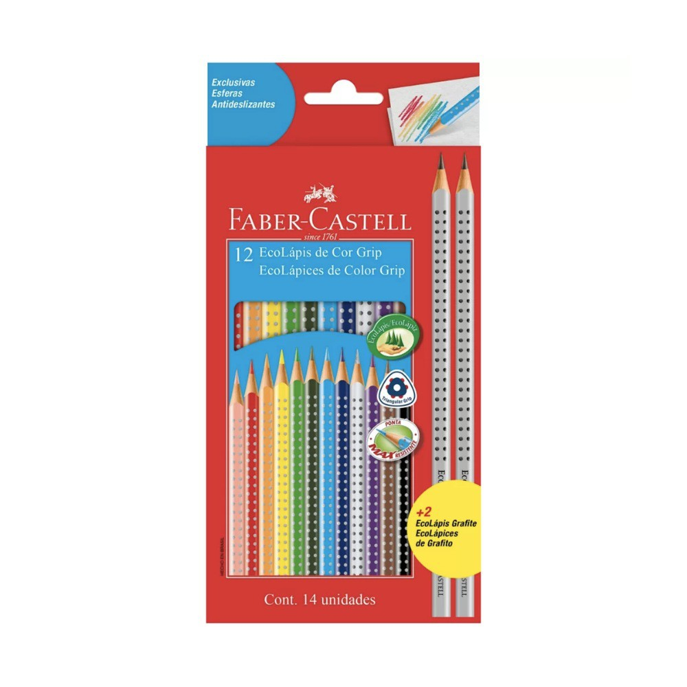 Lápis de Cor com Grip FABER-CASTELL c/ 12 Cores