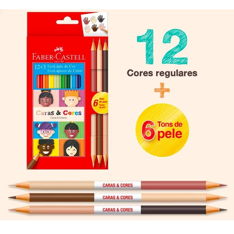 Lápis de cor FABER-CASTELL Caras&Cores c/ 12 Cores + 6 Tons de Pele