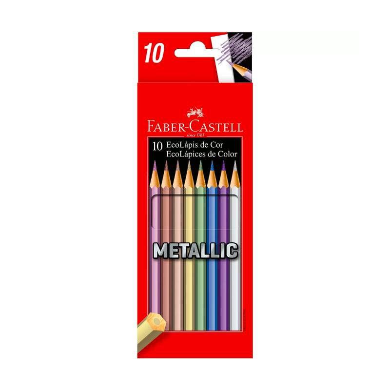 Lápis de cor FABER-CASTELL Metallic c/ 10 Cores