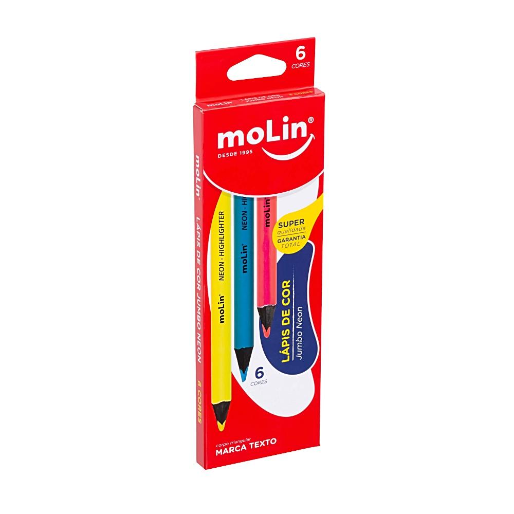 Lápis de Cor Jumbo MOLIN Neon c/ 6 Cores