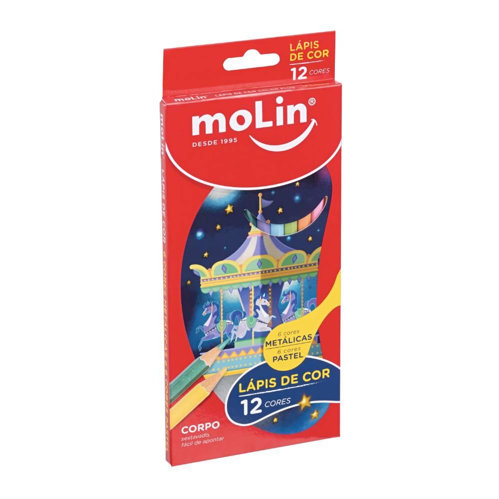 Lápis de Cor MOLIN Pastel e Metálico c/ 12 Cores