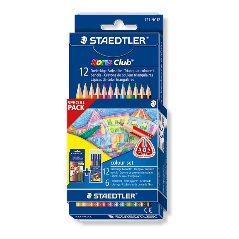 Lápis de Cor STAEDTLER Noris Club  c/ 12 + 6 Hidrocor (Special Pack)