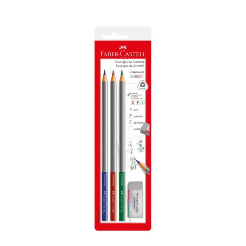 Lápis de Escrever FABER-CASTELL Graphicolor c/ 3 Unids + Borracha