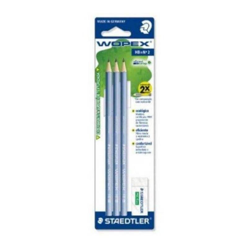 Lápis Preto HB 2 STAEDTLER Wopex c/3 Unds + Borracha