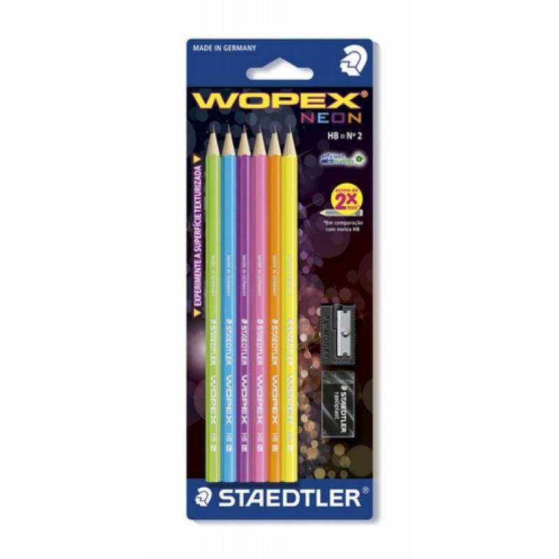 Lápis Preto HB 2 STAEDTLER Wopex Neon c/6 unds + Borracha + Apontador