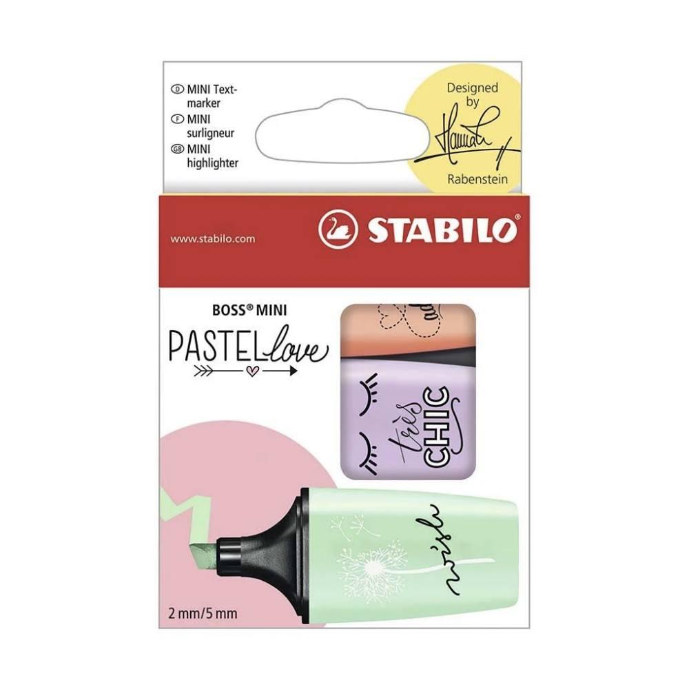 Marca Texto STABILO Love Mini c/ 3 Cores Lr/Ll/Vd
