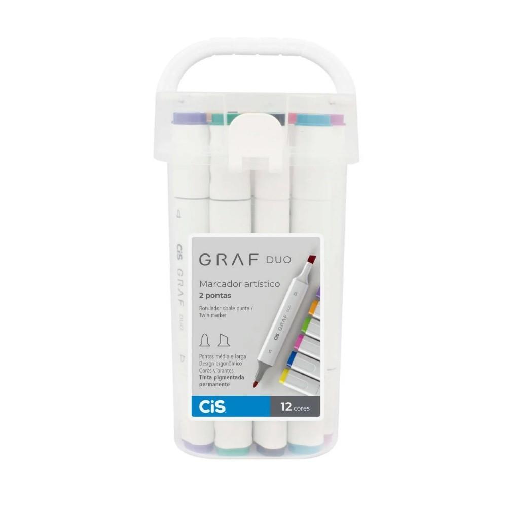Marcador Artístico CIS Graf Duo c/ 12 unids