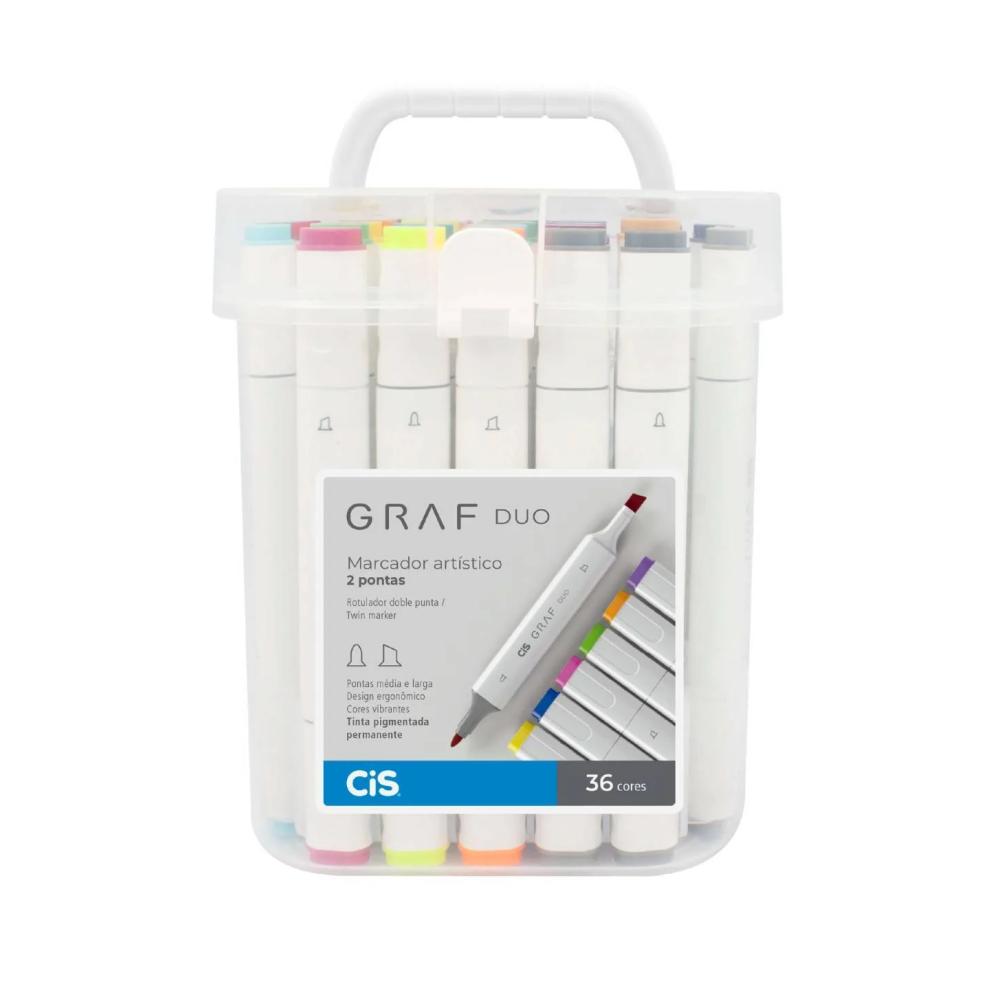 Marcador Artístico CIS Graf Duo c/ 36 unids