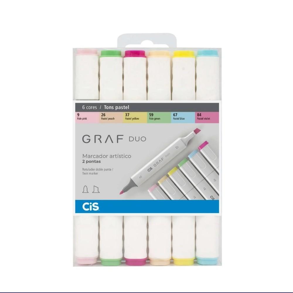 Marcador Artístico CIS Graf Duo c/ 6 unids Tons Pastel