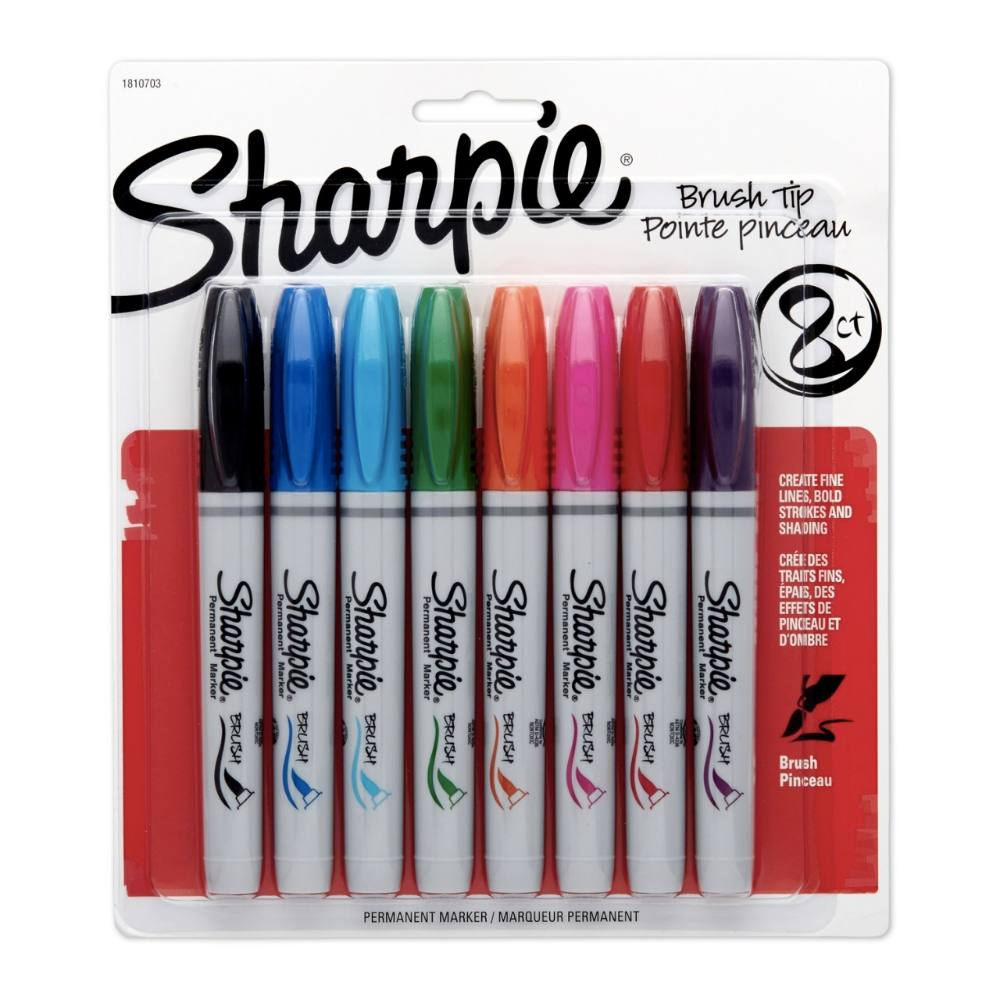 Marcador Permanente SHARPIE Brush Pen Estojo c/ 8 Cores