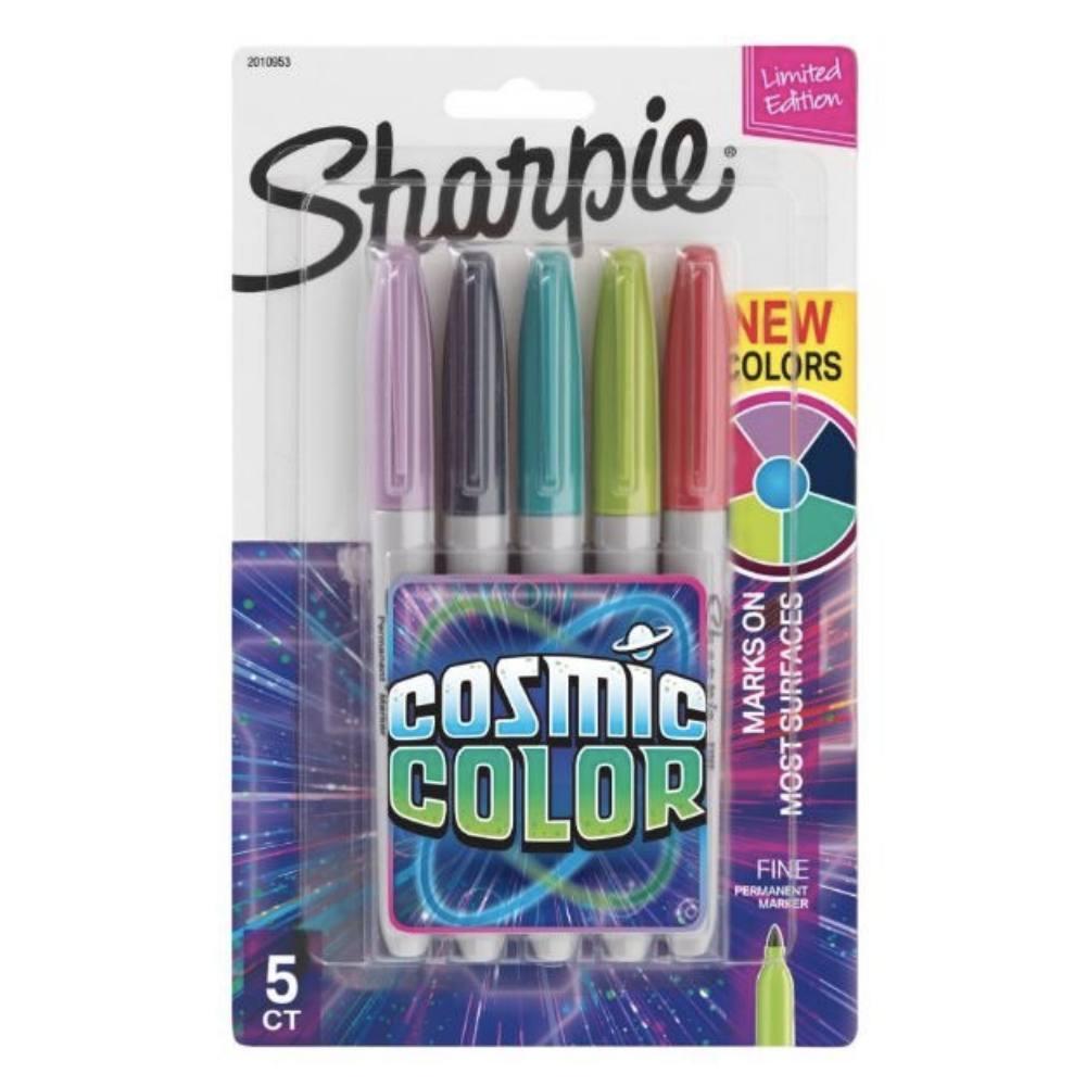 Marcador Permanente SHARPIE Ponta Fina Cosmic Colors c/ 5 Cores