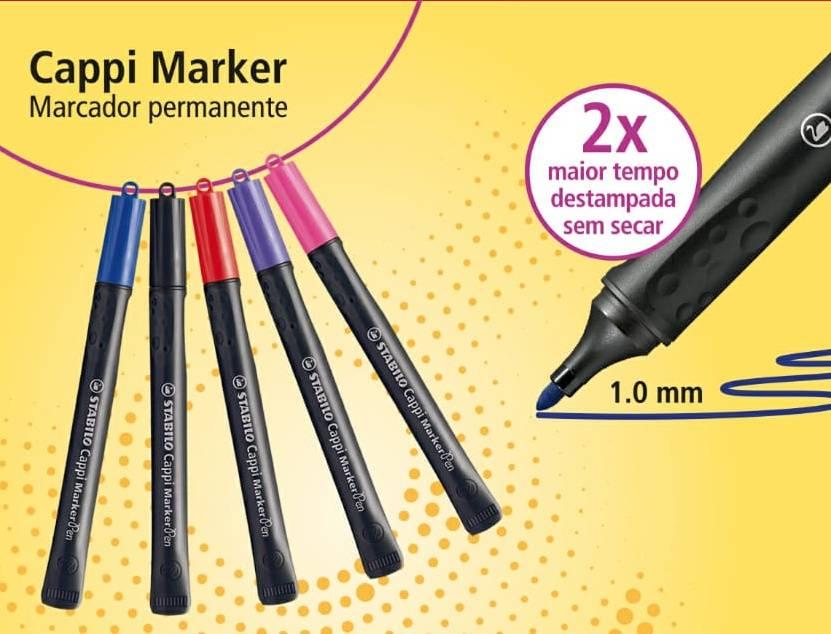 Marcador Permanente STABILO Cappi c/ 5 cores