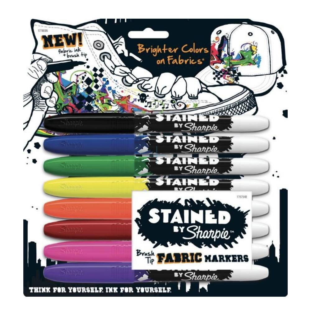 Marcador SHARPIE Brush Pen Para Tecidos Estojo c/ 8 Cores