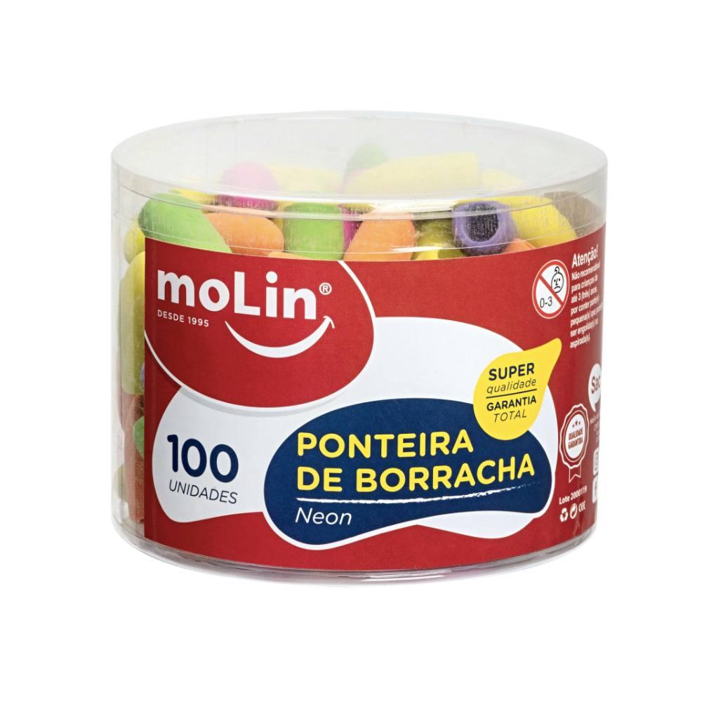 Pote Ponteira de Borracha MOLIN Neon c/ 100 Unds