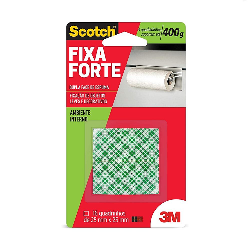 Quadradinhos Dupla Face Scotch® 3M Fixa Forte Espuma