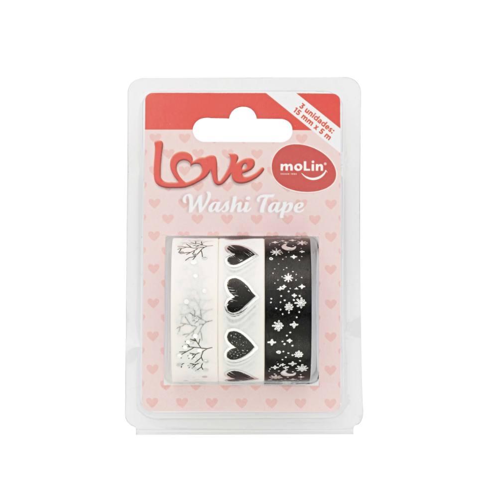 Washi Tape MOLIN Love c/ 3 Unids Novos Modelos