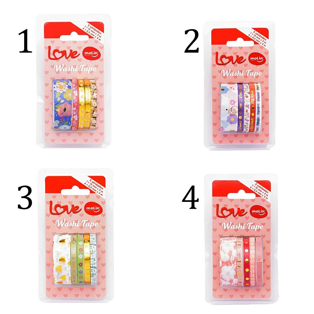 Washi Tape Slim MOLIN Love c/ 5 Unids