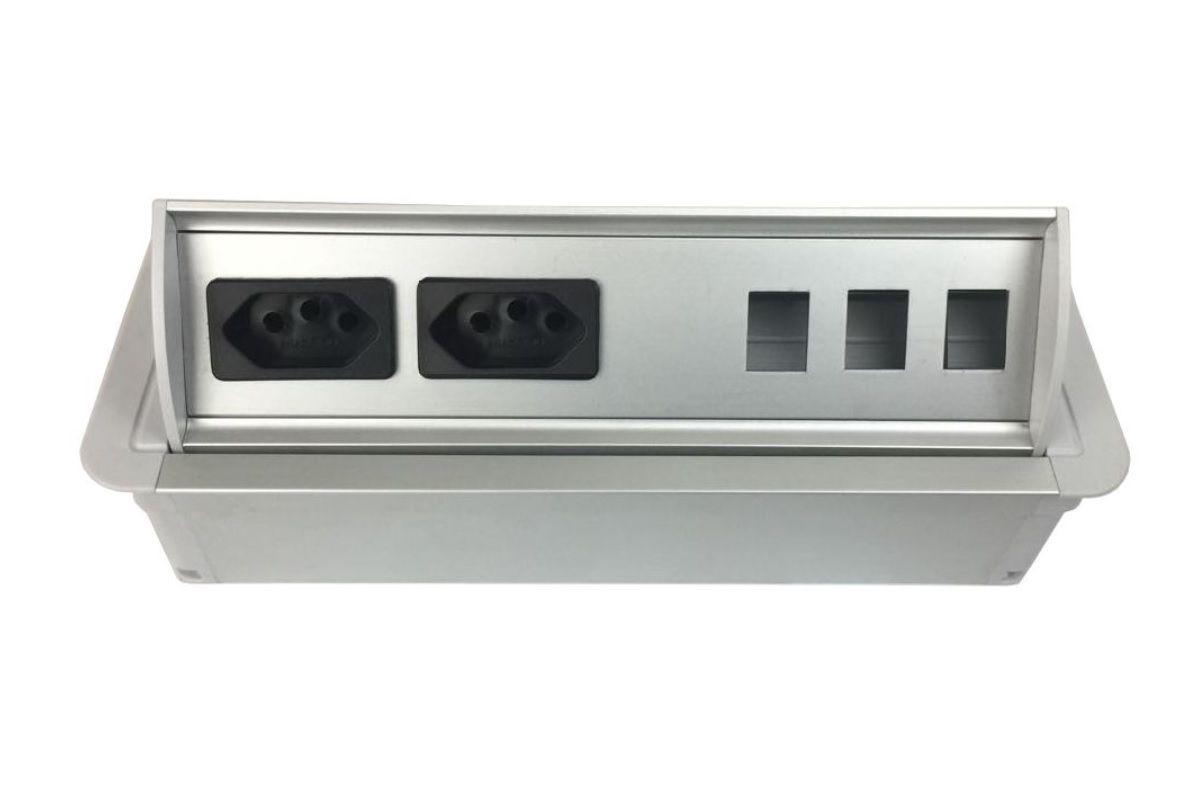 Caixa De Tomada Em Aluminio AW2T + Posições RJ45