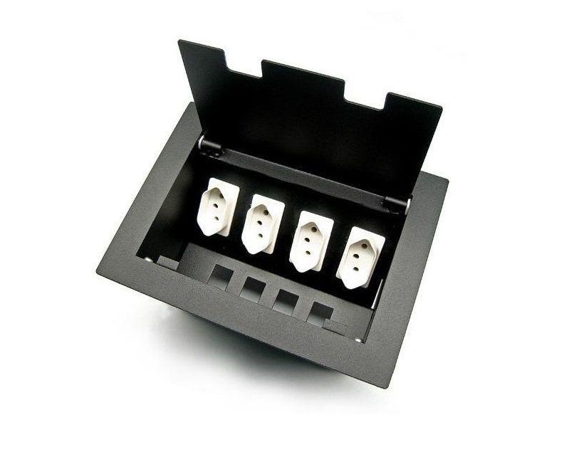 Caixa de Tomada  Para Mesas DMEX04M, 4 Tomadas + 4 Espaços
