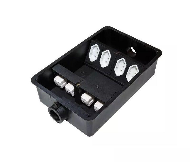 Caixa De Tomada Para Piso Elevado 4 Elétrica, 4 Rj45 Cat5