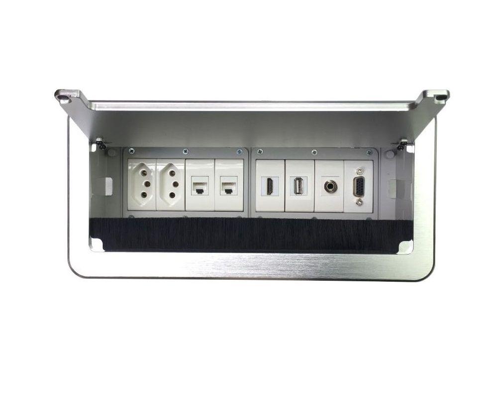 Caixa De Tomadas Para Mesas Completa Com Multi Conexões QM6-M1