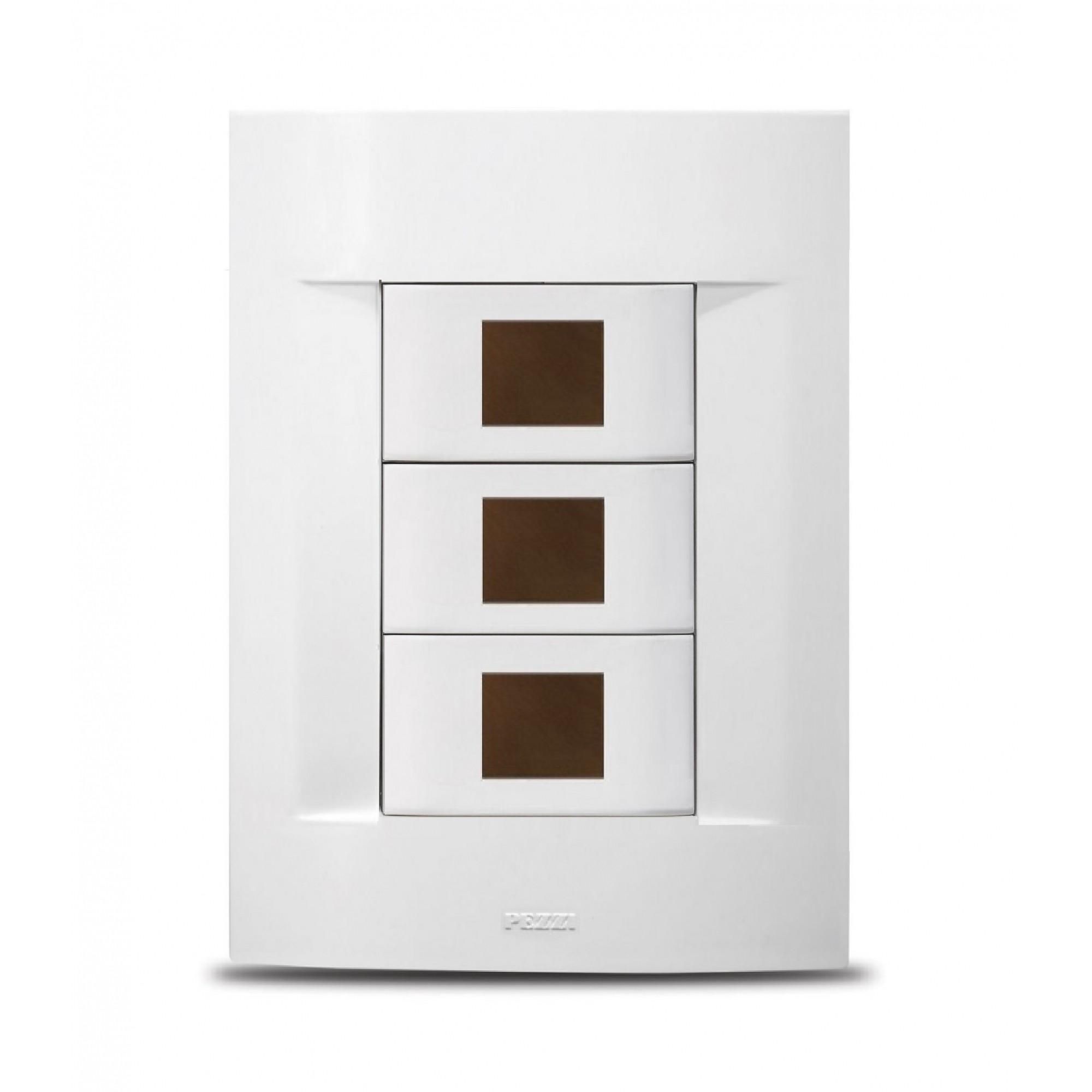 Placa 4x2 Com Suporte Para 3 Módulos Branco Sublime