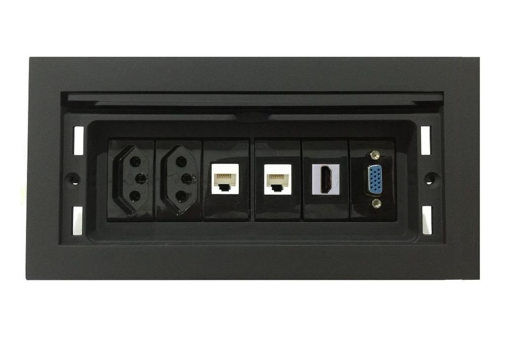 Tomada Para Embutir Em Mesa QMF6-M1 Em ABS Completa