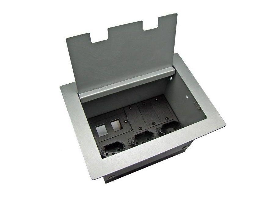 Tomada Para Mesa Escritório Aço 1008 Completa DMEX02-M2
