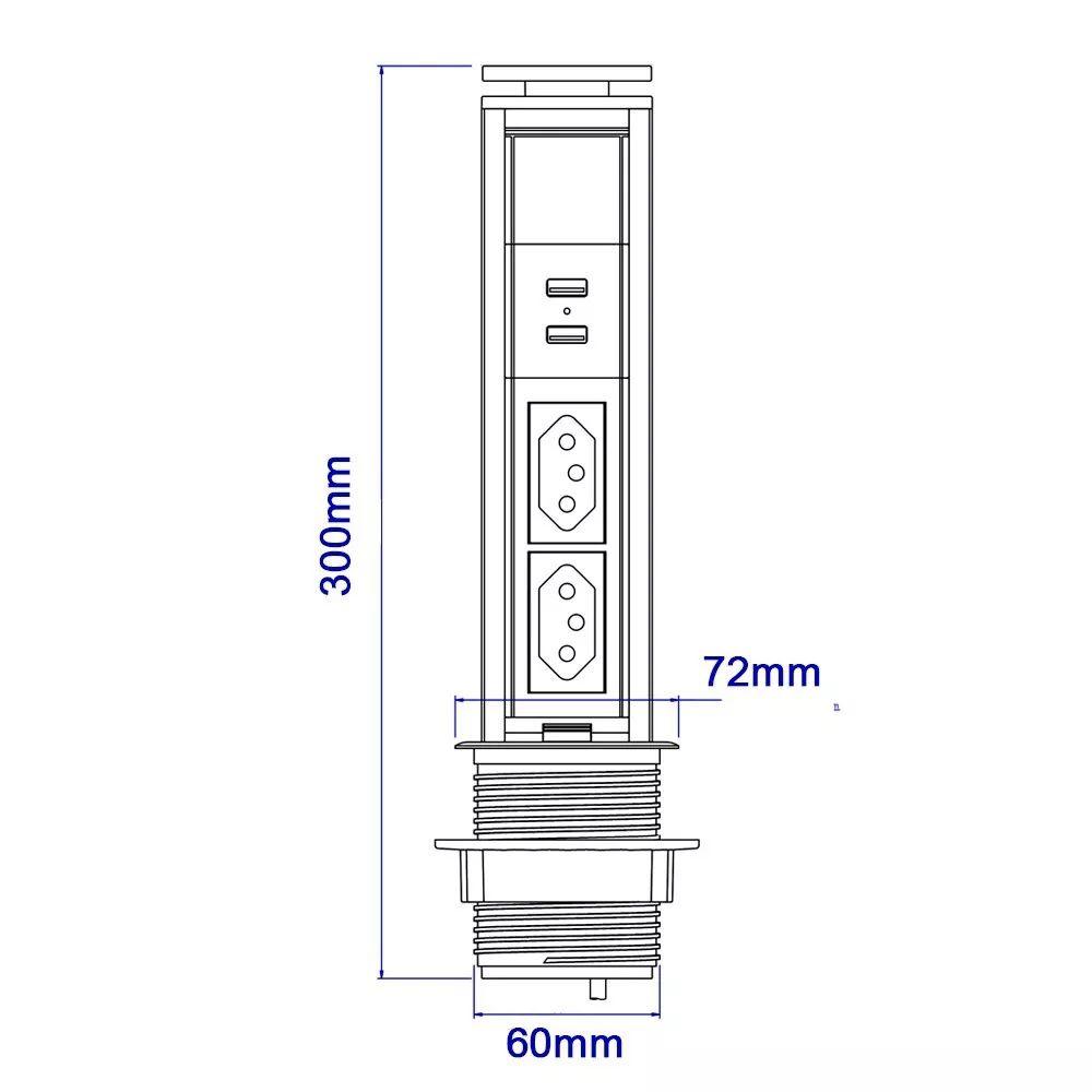 Torre de Tomada 10A Com Carregador USB 2.1A