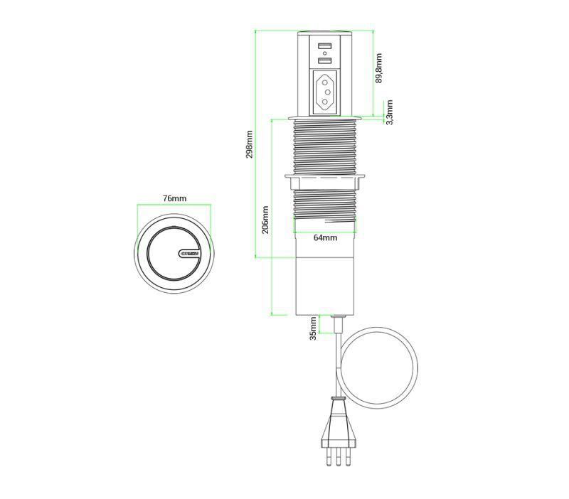 Torre de Tomada Automática 10A Com Carregador USB 2.1A