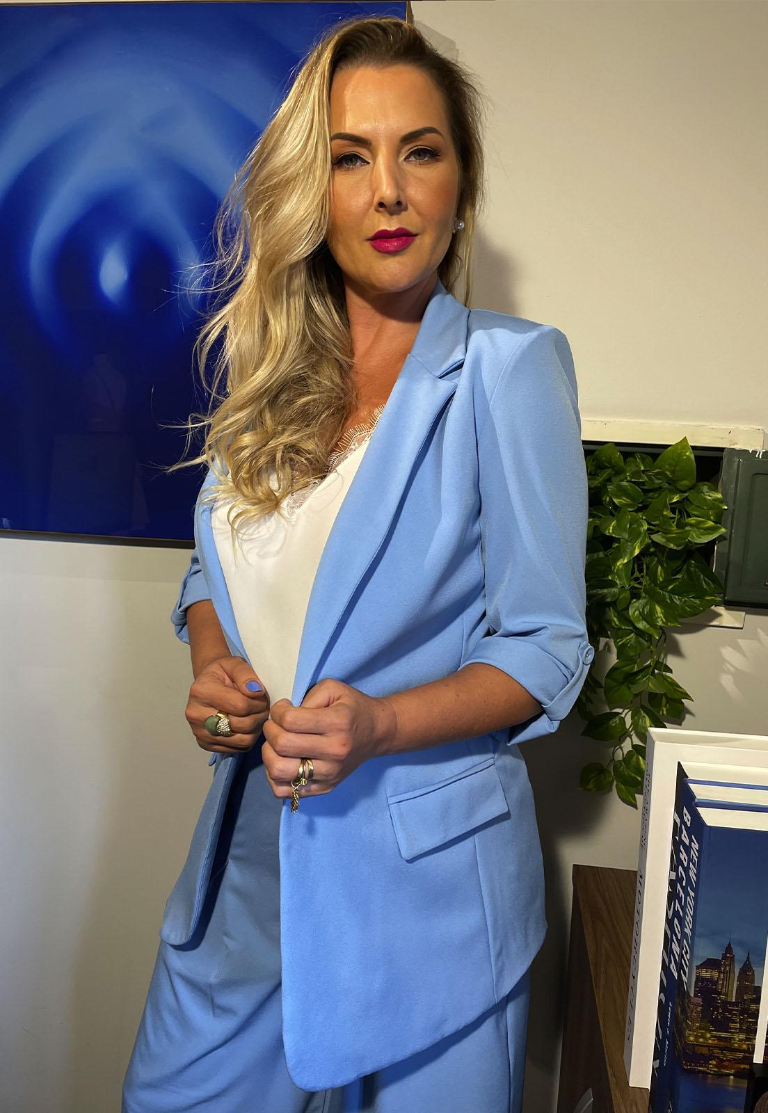 Blazer Alongado Azul Lala Dubi