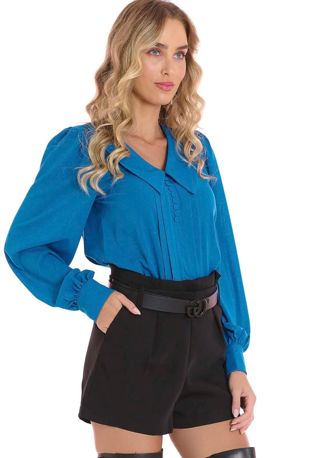 Blusa Com Pregas Azul