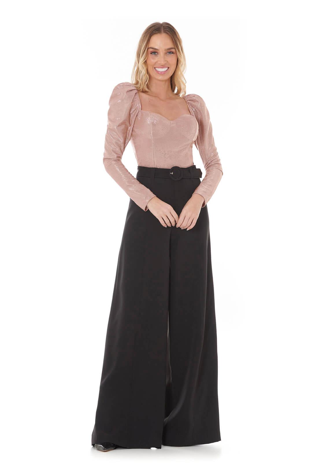Blusa Decote Princesa Lurex Rosê