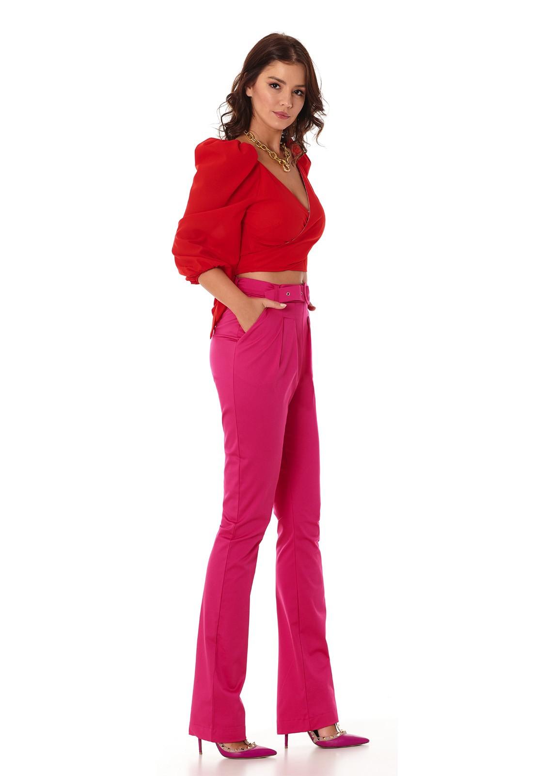 Calça Pink Com Cinto