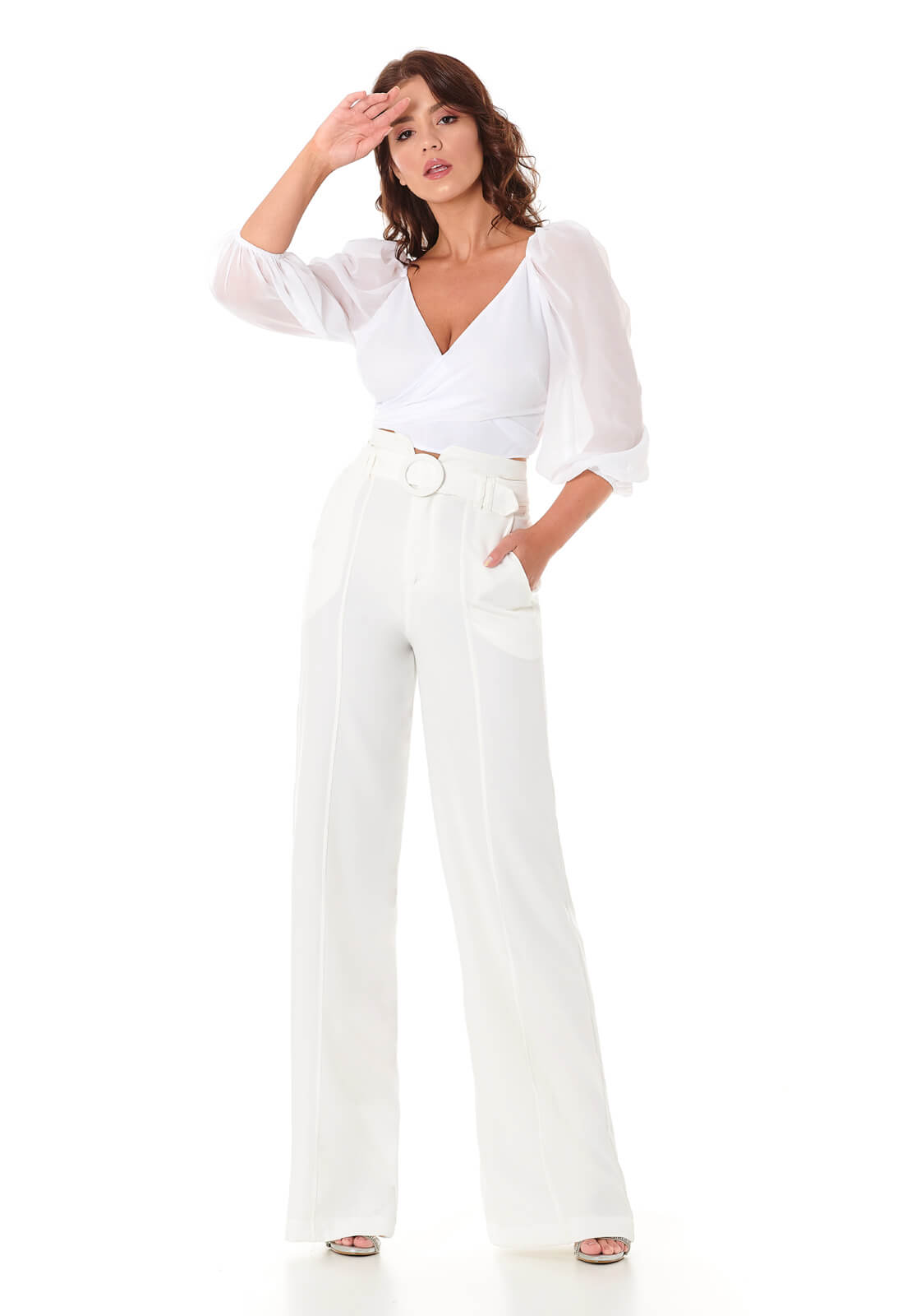 Calça Pantalona Off White com Cinto