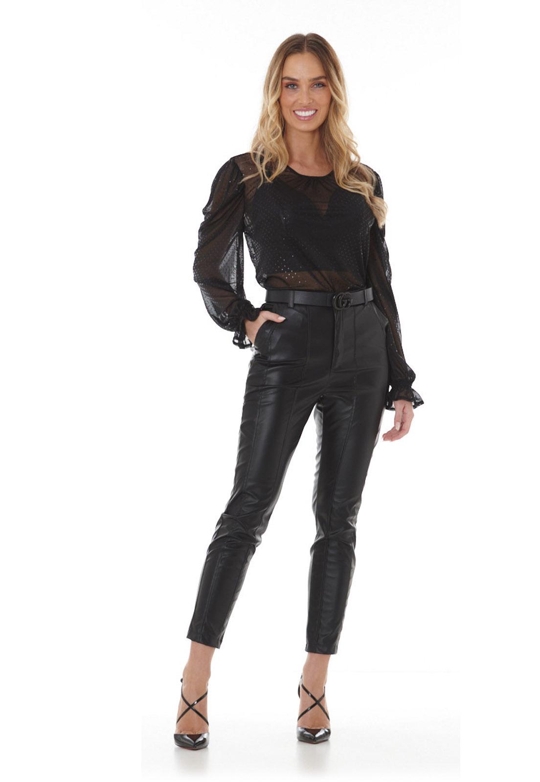 Calça PU Leather Preta Lala Dubi