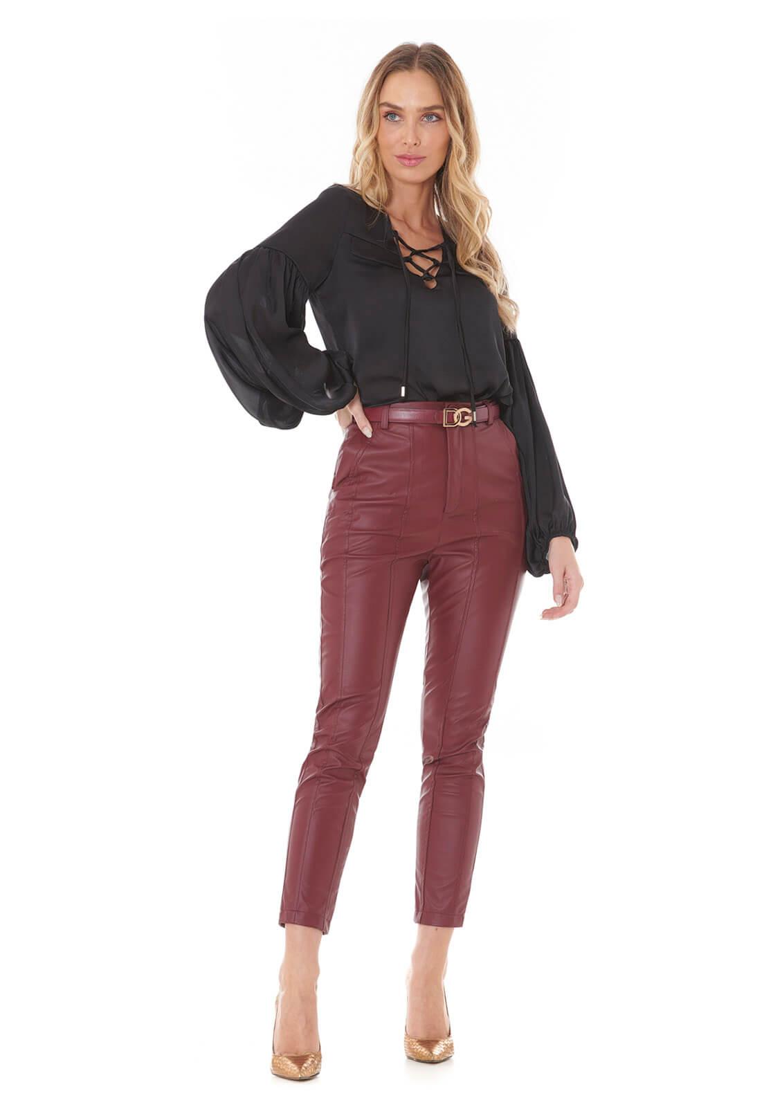 Calça PU Leather Vinho