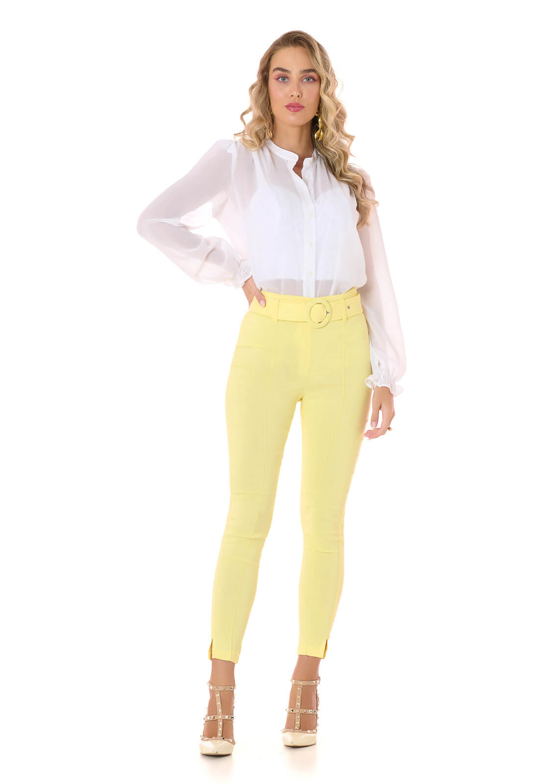 Calça Skinny Bengaline Amarela