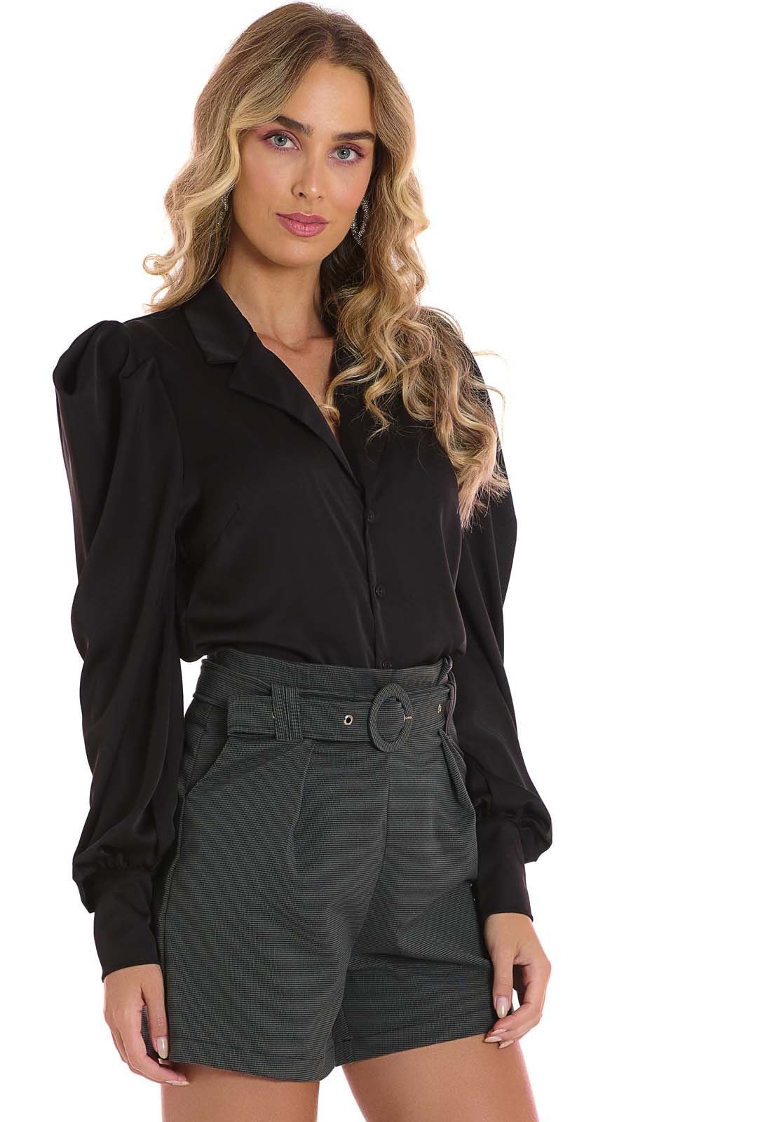 Camisa Manga Bufante Preto Lala Dubi