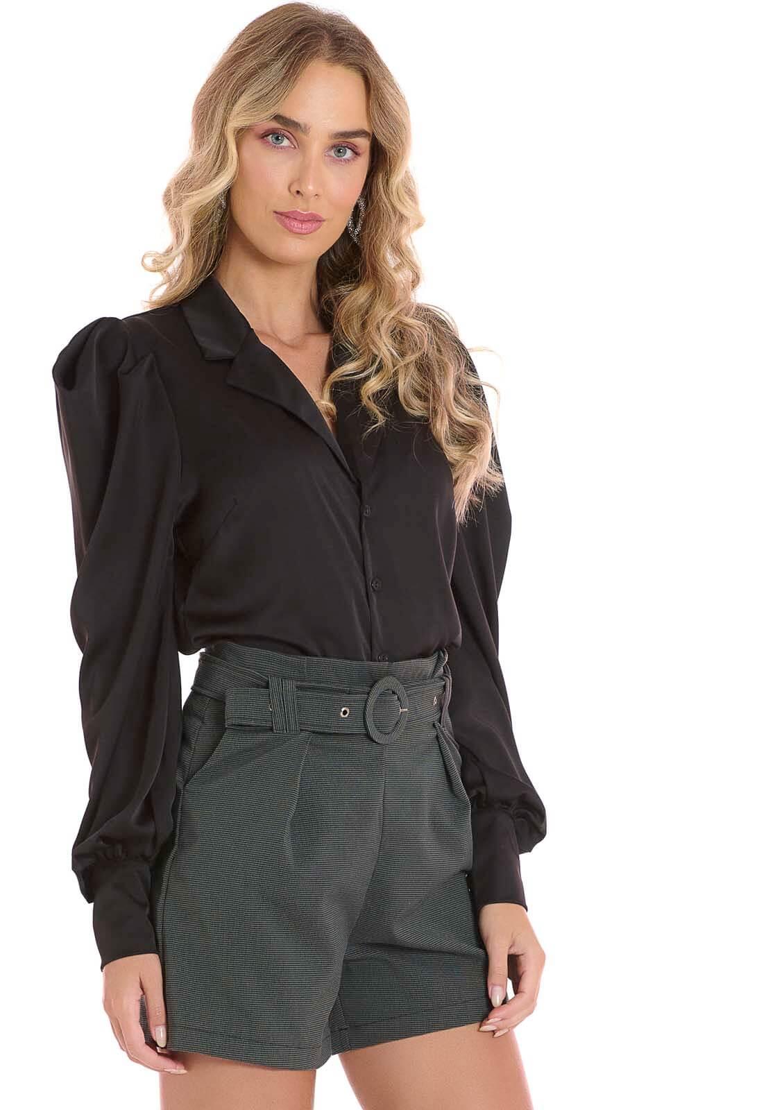 Camisa Manga Bufante Preto