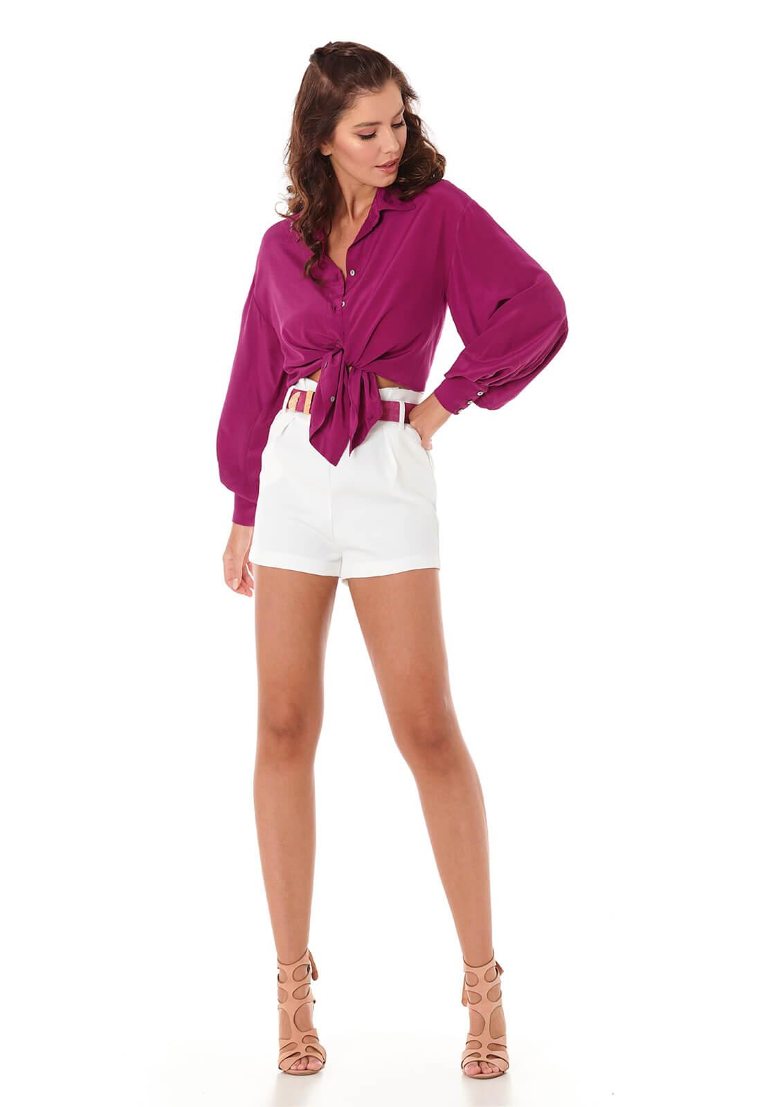 Camisa Manga Bufante Púrpura