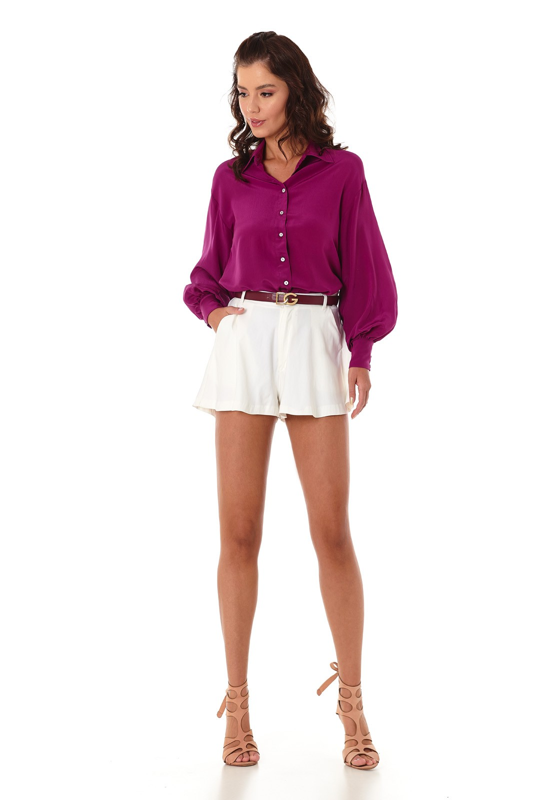 Camisa Manga Bufante Púrpura Lala Dubi