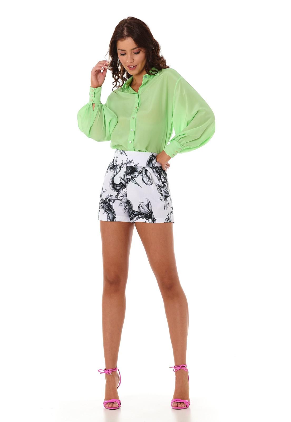 Camisa Manga Bufante Verde Limão Lala Dubi
