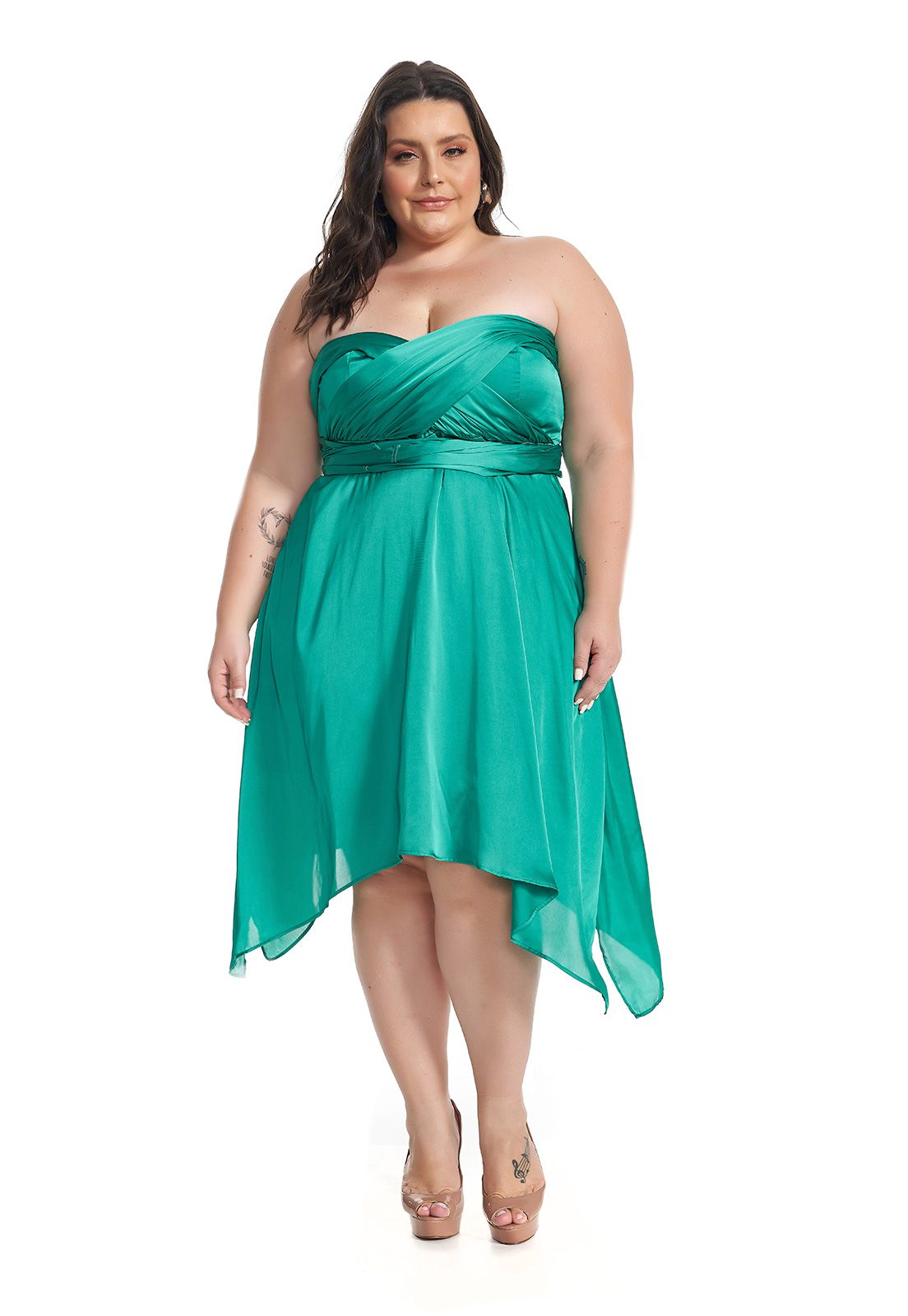 Vestido Midi Infinity Plus Size Verde Lala Dubi