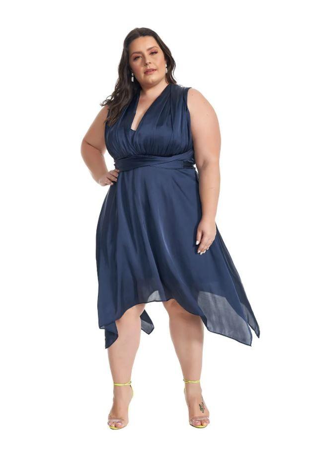 Vestido Midi Infinity Plus Size Azul Lala Dubi